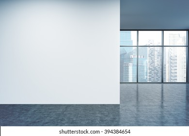 Empty office, white wall in front of panoramic window, Singapore view. Concept of new office. 3D rendering