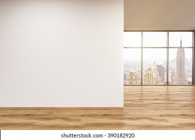 Empty office, wooden wall with white poster in front of panoramic window, New York. Concept of new office. 3D rendering