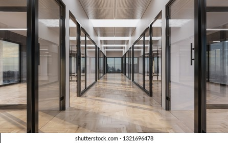 Empty Offices with Glass Doors and Walls 3D Rendering