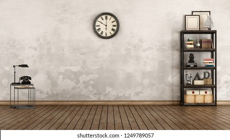 Empty old room with bookcase in industrial style - 3d rendering