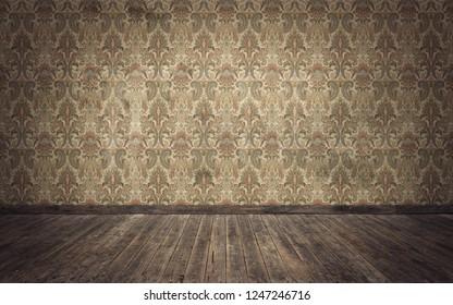Empty old vintage room background. 3d rendering