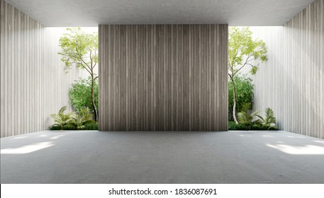 Empty old wood plank wall 3d render,There are concrete floor,Behide the backdrop is a tropical garden,sunlight shine into the room.