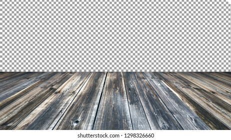 Empty old wood table top background. For montage product display. 3D renderings.