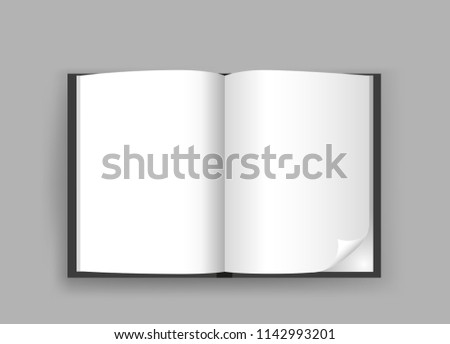 empty open book template shadow on stock illustration 1142993201