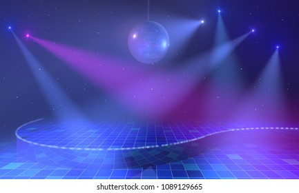 Empty open stage with mirror ball, lights and stars above blue tiled floor. 3d render.