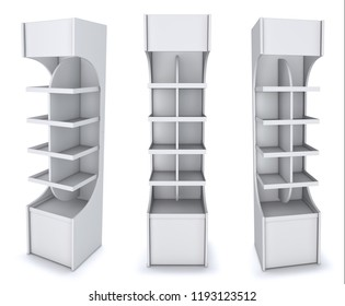 Empty open vertical display case with shelves. 3d illustration set. Isolated on white.