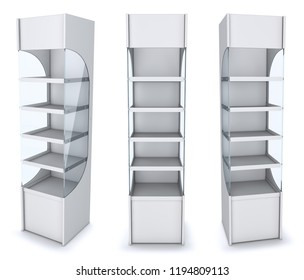 Empty open vertical display case with shelves. 3d illustration. Isolated on white.