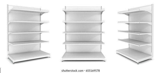 Empty open vertical display case with shelves. 3d image set. Isolated on white.
