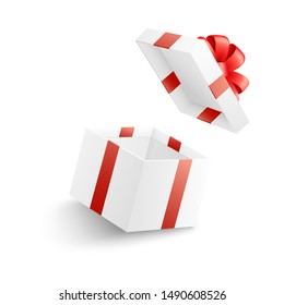 Empty open white gift box with red ribbon, bow and flying cover in realistic 3d style isolated on white background - illustration for greeting and surprise design with present package .