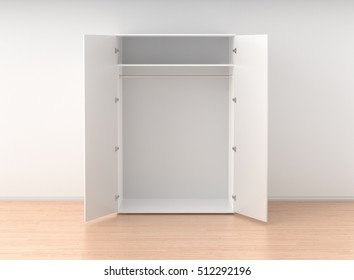 Empty open white wardrobe isolated against the white wall in bright interior. 3d render