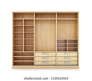 Empty open wooden wardrobe. 3d illustration