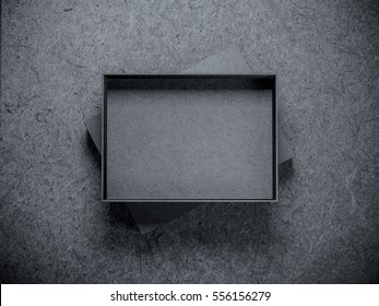 Empty opened black box Mockup on dark background, 3d rendering