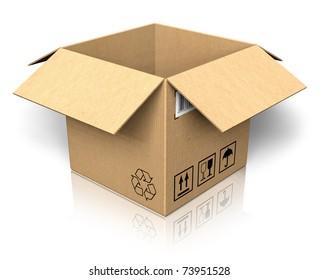 Empty opened cardboard box