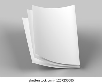 Empty paper sheets in A4 format - 3d illustration