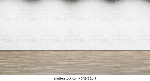 Empty part of white painted brick wall with wooden floor. 3d render