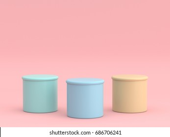 Empty pastel green blue yellow winners podium on pastel pink color background. 3D rendering.