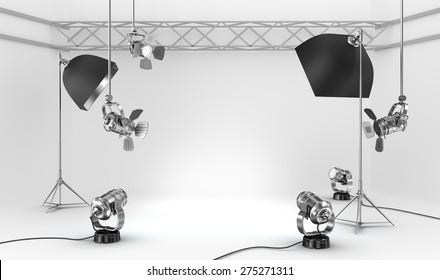 Empty photo studio with interior equipment