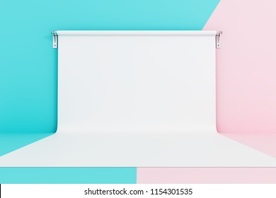 Empty photo studio on pastel colors background. 3d rendering