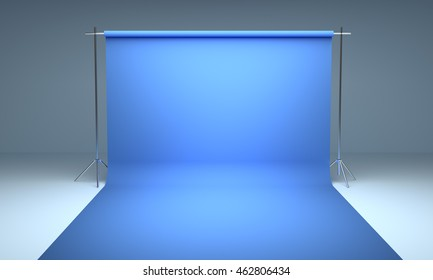 Empty photography studio background blue  template 3d render