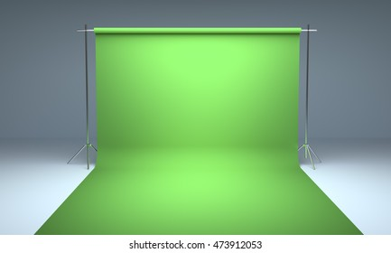 Empty photography studio background green template 3d render