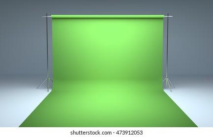 Empty photography studio background green template 3d render