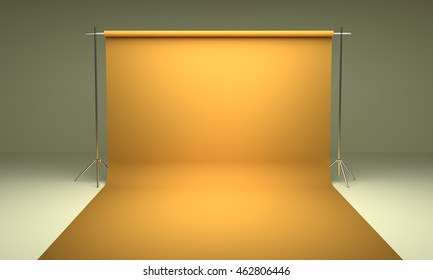 Empty photography studio background  template yellow 3d render
