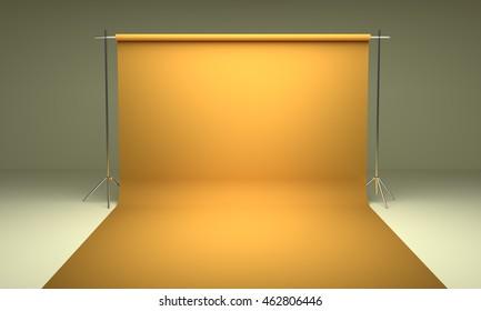 Empty photography studio background  template yellow 3d render