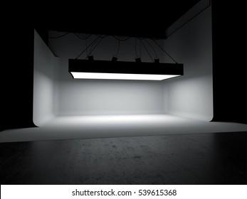 Empty photography studio car background 3D illustration