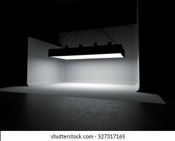 Empty photography studio car stage background 3D illustration