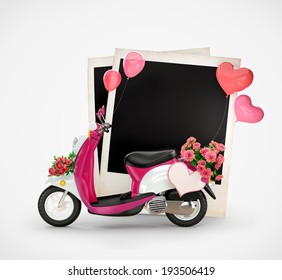 Empty photos and vintage scooter with flowers, balloons and heart at white  background. Love