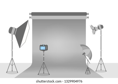 Empty photostudio with various equipment for photoshoots. Camera, softbox, decoration and spotlights. Isolated flat  illustration
