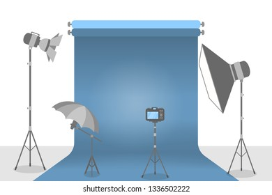 Empty photostudio with various equipment for photoshoots and blue background. Camera, softbox, decoration and spotlights. Isolated flat  illustration