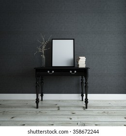 Empty picture frame and a stack of books on a console table with a modern twig ornament against a textured dark grey wall in a house, 3d render with a parquet floor