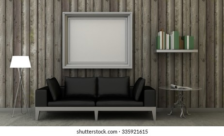 bc8b846a0d9 Empty picture frames in classic interior background on the decorative  painted wall with wooden floor.
