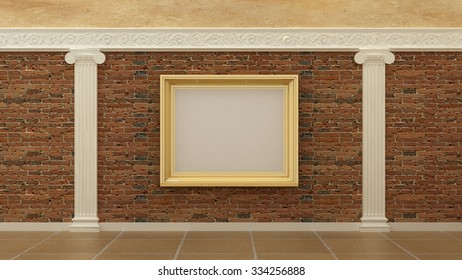 Empty Picture Golden Frames Classic Luxury Stock Illustration