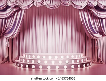 Empty pink theater stage with podium. 3d illustration