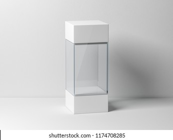 Empty plastic glass box package mockup for exhibit, 3d rendering