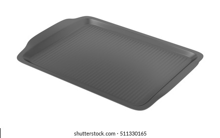 Empty plastic tray isolated on white background, 3D illustration