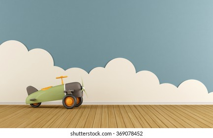 Empty playroom with toy airplane on wooden floor  and clouds - 3D Rendering