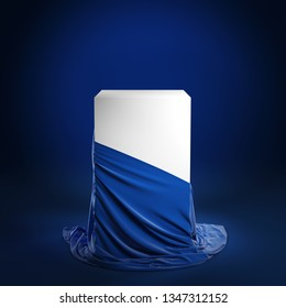 Empty podium covered with blue cloth. Isolated on a blue background with clipping path. 3d illustration