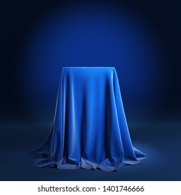 Empty podium covered with blue cloth. 3d illustration