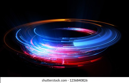 Empty podium. Disco club. Rays view. Show magic party. Spot fog lamp. 