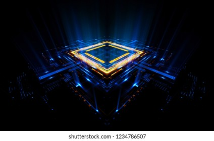 Empty podium. Disco panel. Rays view. Show magic party. Sports style.  Bright space. Stand square. Vivid stage. Exhibition space. Core. Demo place. 3d render. Glint check scene. Glare bright blocks.
