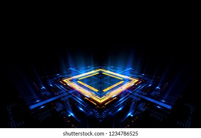 Empty podium. Disco panel. Rays view. Show magic party. Sport style. Bright space. Stand square. Vivid stage. Exhibition space. Core. Demo place. 3d render. Glint check scene. Glare bright blocks.
