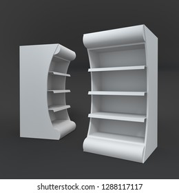 Empty POS Shelf Display Mock-up Isolated On Black Background. 3D render