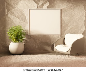 Empty poster on a wall. Interior with a chair and home plant. 3D rendering.