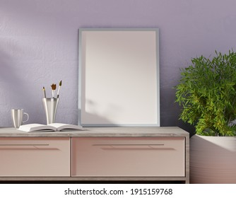 Empty poster template on a table. Frame with white background for lettering and pictures. 3D rendering.