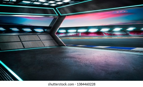 Empty race car garage with international race track background , night scene, mixed media , 3D rendering .