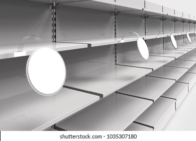 Empty racks with shelves in a supermarket with round wobblers in perspective. 3d illustration. 3d illustration