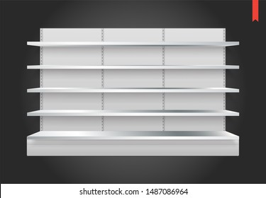 Empty Raster Store Shelves with Background. Can be used separately.